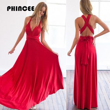 PHINCEE Bandage Dress Women Summer 2018 Hot Halter Sleeveless Backless Maxi Sundress Female Long Floor-Length High Waist Vestido