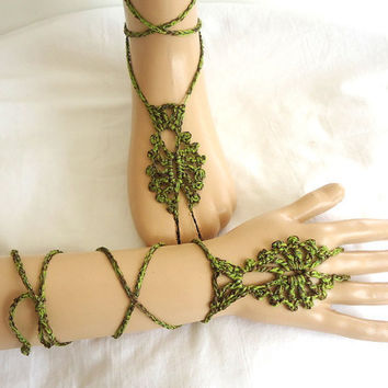 green brown crochet wrist cuff bracelet ring jewelry by aysev