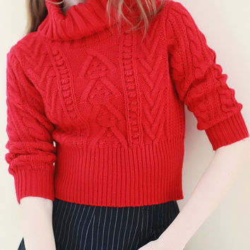 Red Turtleneck Cable-Knit Cropped Sweater