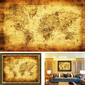 Vintage Style Retro Cloth Poster Globe Old World Nautical Map  ative wall stickers home   living room Free Shipping