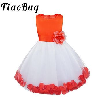 TiaoBug 2017 Girl Flower Dress Summer High-grade Children Embroidered Party Dresses Girl Kids Clothes for Wedding Bridesmaid