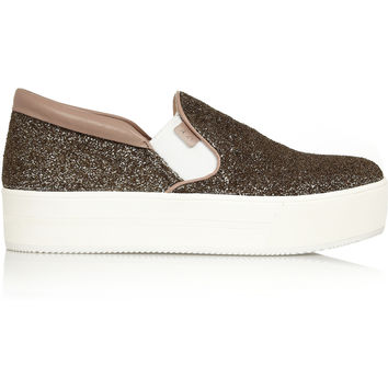 No. 21 - Glitter-finished canvas slip-on sneakers