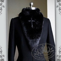 Medieval Priest, Elegant Gothic Aristocrat Fur Collar/Shawl&Cross*2color
