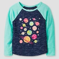 Toddler Girls' Planets Long Sleeve Graphic T-Shirt Cat & Jack™ - Nightfall Blue : Target