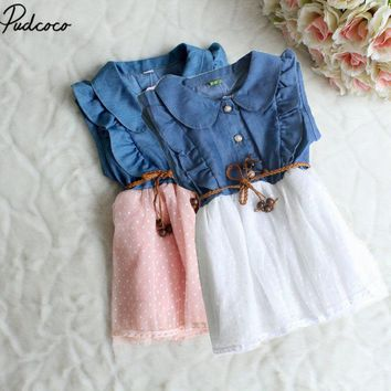 Baby Girl Kids Princess Party Dress Pathhwork Summer Cool Clothes Ruffle Clothes Kid Denim Jeans Dress Costume 1 2 3 4 5 Years