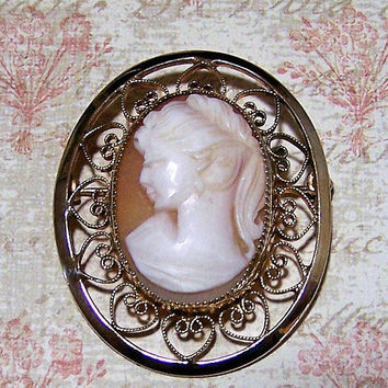 Catamore Carved Shell Cameo Pin, Gold Filled Brooch, Heart Border, Antique Revival 118
