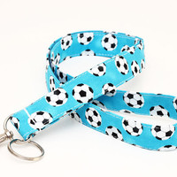 Kids' Key Neck Strap, Sports Print ID Lanyard, Lanyard Teacher Badge Holder, Coach Key Lanyard- soccer balls in blue