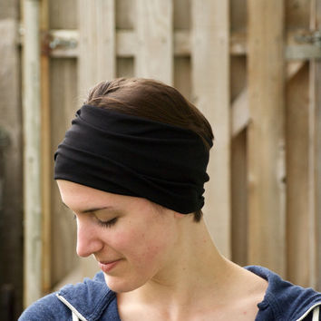 Extra Wide Headband, Yoga Head Wrap, Fitness Headband, Stretchy Hair Wrap, Black