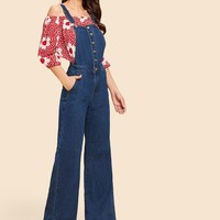 High Waist Buttoned Flare Jeans With Strap