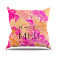"Ebi Emporium ""Free Your Mind Pink"" Pink Orange Throw Pillow"