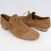 Nylon Brown Suede Lace-Up Handmade Oxfords Flat Shoes Size IT 37