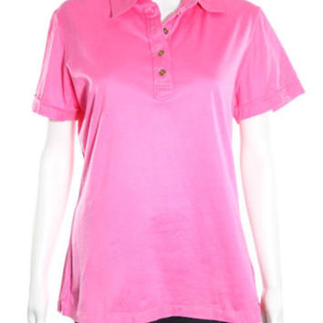 LILLY PULITZER Pink Cotton Four Button Short Sleeve Polo Shirt Sz XL
