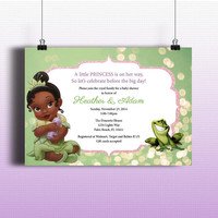 Instant Download-Princess and the Frog Tiana DIY Printable Birthday Party Baby Girl Shower Toddler Invitation Template