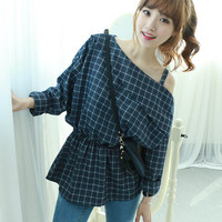 One Shoulder Gathered-Waist Check Top,blouse