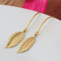 Long Leaf Earrings in Gold Fill, The gold Dangle Earrings that Match the Jennifer Aniston Leaf Necklace