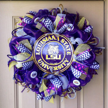 Deluxe Deco Mesh LSU TIGERS Wreath