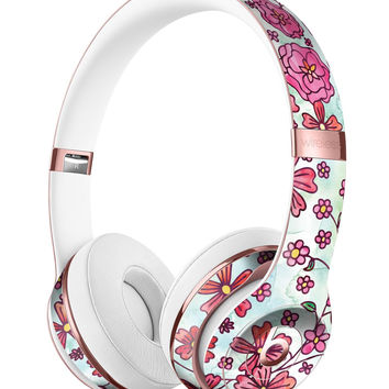 Floral Pattern on Light Green Watercolor Full-Body Skin Kit for the Beats by Dre Solo 3 Wireless Headphones