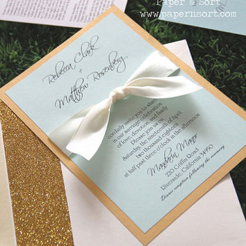 Classic Formal Ribbon Wedding Invitation Set with Glitter Envelope Liner - Customizable Invite - Mint Ivory Gold - Sample