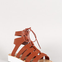 Bamboo Leatherette Cutout Lace Up Gladiator Flatform Sandal