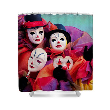 Bright Colorful Clowns Duo Shower Curtain, Colorful Fine Art Photo Bathroom Decor, Colorful Clown With Masks Photograph Decor Bath Curtain