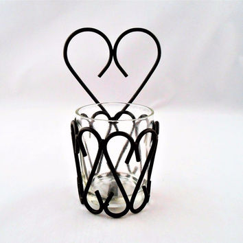 Heart Shaped Iron w Glass Tea Light Votive Candle Holder Wall Mount/ Table