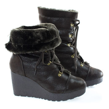 Crepe07 Brown By Bamboo, Women Military Lace Up Faux Fur Lining Winter Snow Boots, Wedge Lug Sole