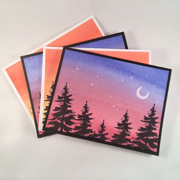 Four Tree Silhouette Greeting Cards, Night & Day Watercolor Landscapes, Set of 4 with Envelopes