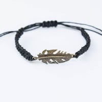 Feather Friendship Bracelet Hemp Bronze Toned Charm Girlfriend Gift Best Friend Gift Boho