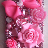 handmade Sweet Pink Barbie iPhone Cases cute iPhone 4 Case Bling iPhone 5 Case Flower Bow Swarovski Jewels iPhone 4s Case galaxy s3 case