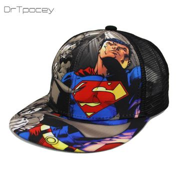 Trendy Winter Jacket Fashion Superman Batman Children Summer Snapback Adjustable Kid Boys&Girls Baseball Cap Hip-Hop Hat Outdoor Mesh Cap 2-7 Years AT_92_12