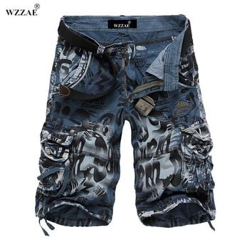 WZZAE 2017 New Design Men Summer Camouflage Military Cargo Shorts Bermuda Masculina Jeans Male Fashion Casual Baggy Denim Shorts