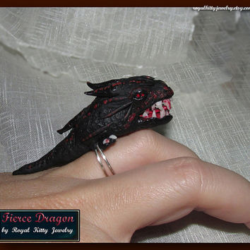 Fierce Dragon, handmade dragon ring, black dragon ring, polymer clay dragon, unisex polymer clay ring, dragon adjustable ring, unique