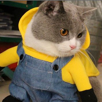 [MPK 10 Years] Funny Minions Costume, micky Pet cat dog Dress transformation clothes with Hood