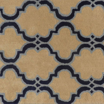 Moroccan Scroll Tile Taupe Handmade Persian Style Woolen Area Rug