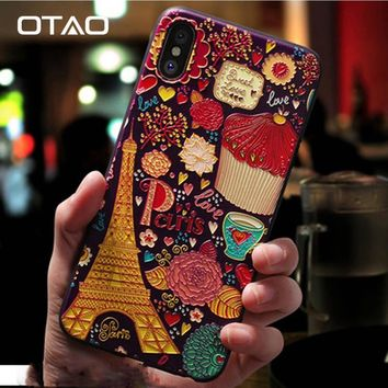OTAO 3D Emboss Cartoon Patterned Phone Case For Apple iphone X 7 8 6 6S Plus Cases Soft Silicone Back Cover For iphone 10 Coque