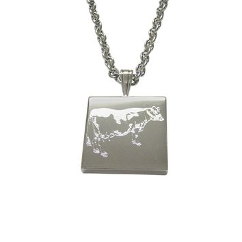 Silver Toned Etched Farm Cow Pendant Necklace