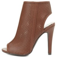 Perforated Peep Toe Booties by Charlotte Russe