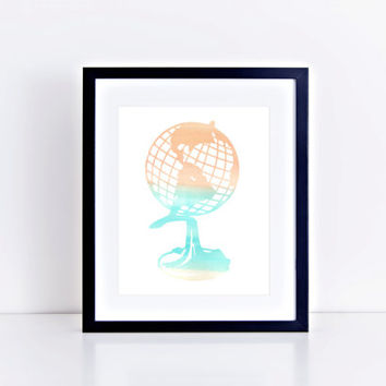 Watercolor Globe Print // Choose From 5 Colors // Home Decor // Watercolor Print // Globe Print // Gallery Wall Print