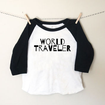 World Traveler Black & White Toddler Raglan Tshirt - Adoption Tshirt - Travel Shirt - Hipster Toddler Baseball Shirt