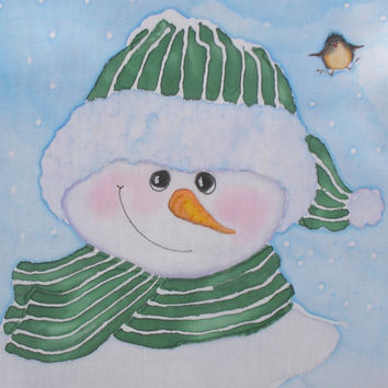 Snowman Quilt Block Hand Painted on Cotton  Green Stripe Hat and Scarf with Chickadee