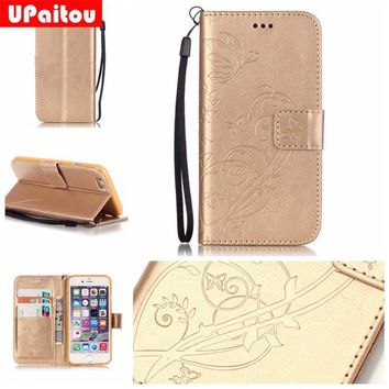 UPaitou Luxury 3D Embossing PU Leather Case for iPhone 8 7 6 6S Plus 4 4S 5 5S SE 5C Flip Wallet Cover for iPhone 7Plus Cases