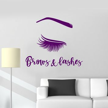 Vinyl Wall Decal Brows Lashes Beauty Salon Female Eye Woman Decor Stickers Mural (ig5610)