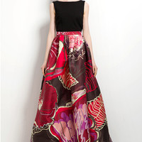 Exotic Blooms Maxi Full Skirt Multi