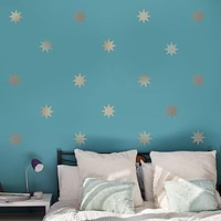 "25 Silver or Gold Metallic 4"" Eight Point Star Vinyl Wall Decals"