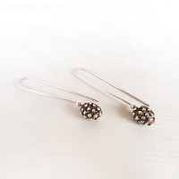 Sterling Silver Long Earrings Little Bubbles Balls - Original Unique Organic Texture Long Earrings - Contemporary Jewelry in Silver