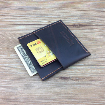 Leather minimalist wallet, unique wallets man, leather monogram purse, brown, distressed leather, gift ideas for her