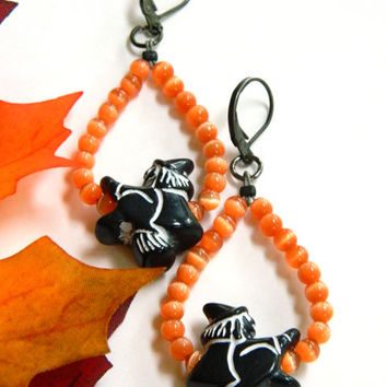 Black Witch Dangle Earrings Handcrafted Halloween Orange Beaded Short