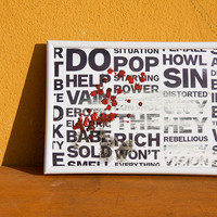 Typografic contemporary industrial wall art black and white and red