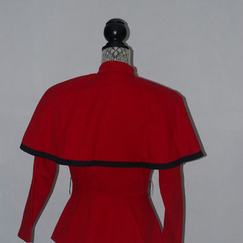 Vintage 80's Peplum Capelet Avant Garde Red and Black Jacket
