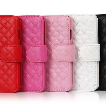 Elegant Flip Wallet Grid Genuine Leather Phone Case Cover For iphone 6 6S Plus 5 5S 4S Samsung Galaxy Note 4 3 S6 Edge S5 S4 S3